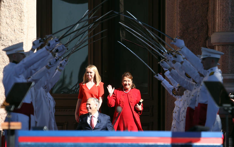 Gov. Greg Abbott, with wife Cecilia and daughter Audrey, at the inauguration ceremony at the Texas Capitol.