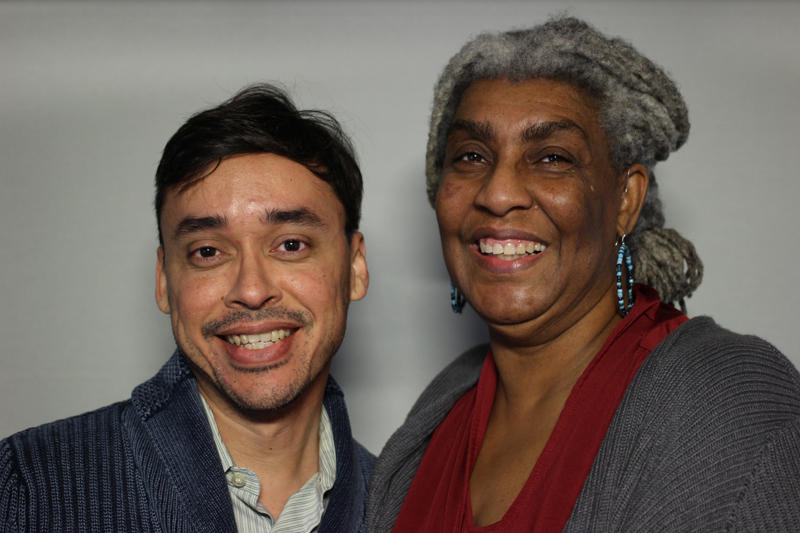 J.J. Lara and Rose Pulliam at the StoryCorps mobile booth in Austin.