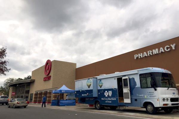 Blue Cross Blue Shield of Texas parked an RV outside of a Target in San Antonio on Dec. 12, 2014.