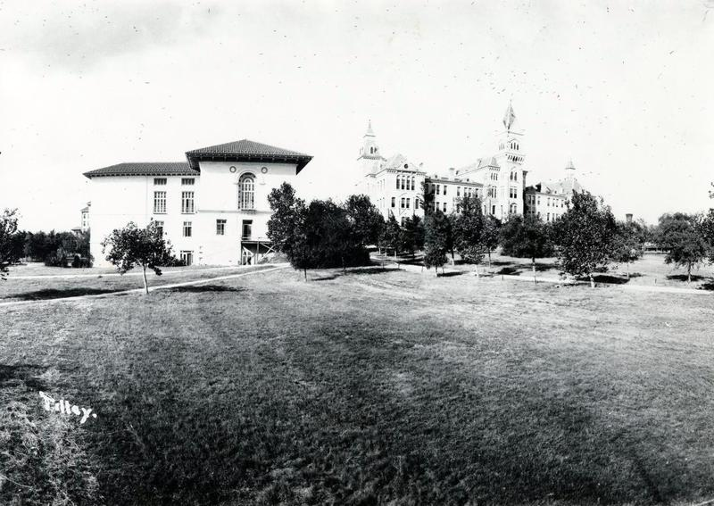 An undated photo of the University of Texas' main building, which served as the schools administrative headquarters from 1883 to 1937, when the UT Tower was formally dedicated.