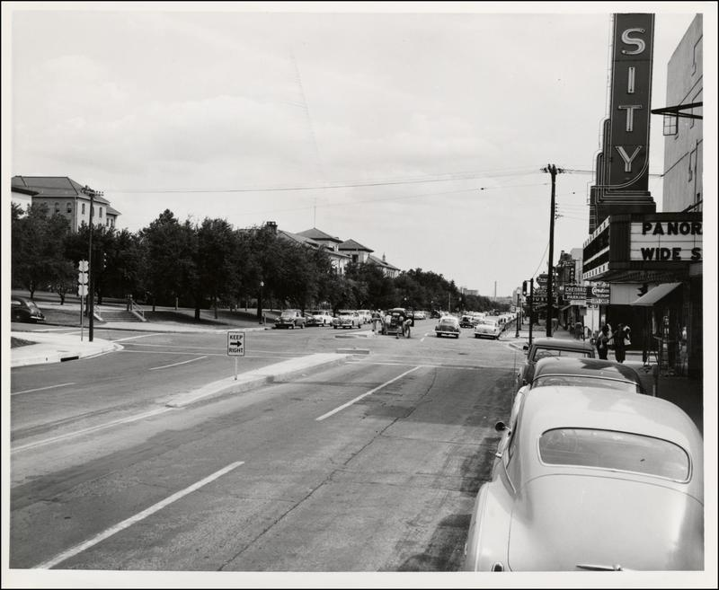 This photo, taken some time in the early 1950s, shows Guadalupe looking south. To the right is the Varsity Theater.