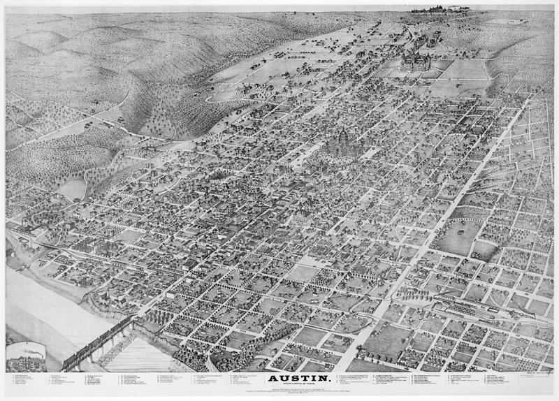 An 1887 map of Austin showcasing the newly constructed main building at UT-Austin.