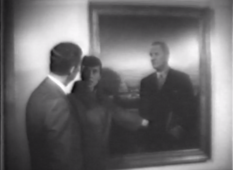 A screenshot from a 1967 news story on the presidential portrait that LBJ rejected.