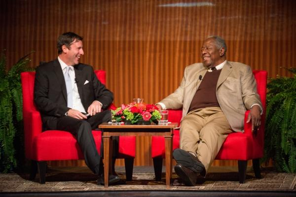 LBJ Presidential Library Director Mark Updegrove talks with Hank Aaron