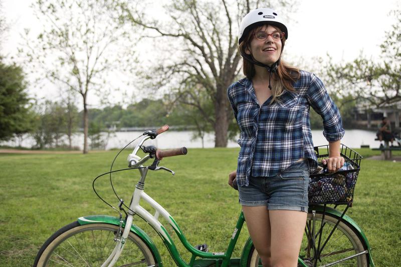 A cyclist gets ready for Austin's Thursday Night Social Ride.