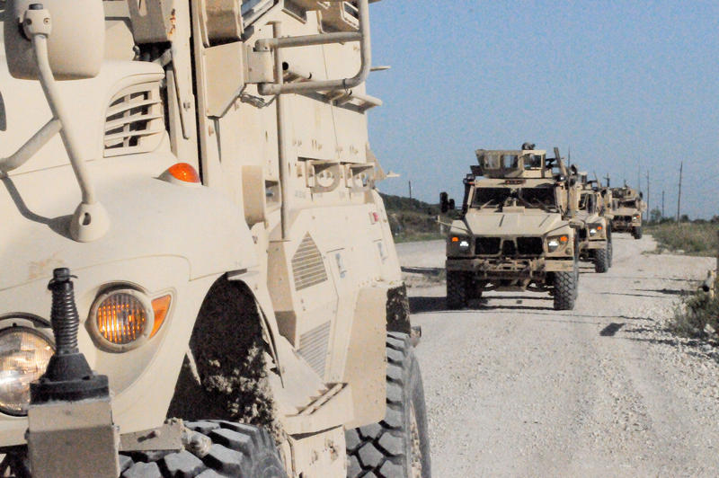 Soldiers in a First Army Division West NATO Training Mission - Afghanistan team conduct convoy lanes training on North Fort Hood, Texas, July 20, 2012.