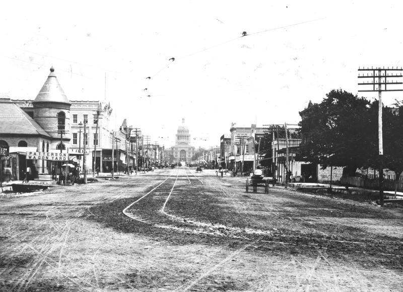 Congress Avenue in the 1880s, when mule-drawn streetcars were the only form of public transportation in Austin.