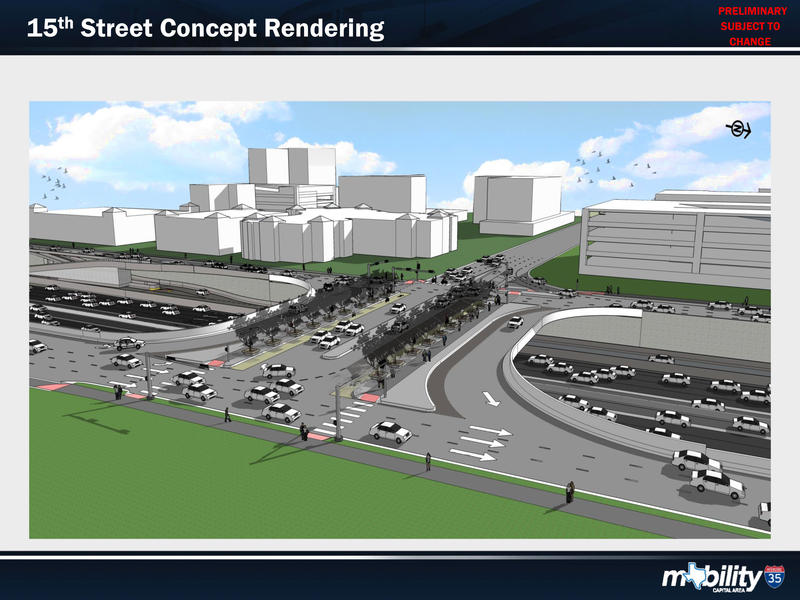 A rendering of the city's plan for I-35 at 15th St.