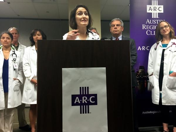 Dr. Alison Ziari with the Austin Regional Clinic announces the company's new policy requiring pediatric patients to get immunized on June 30, 2015.