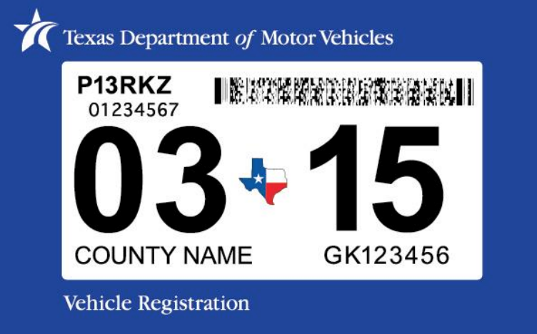 The Texas DMV has combined vehicle registration and inspection stickers.