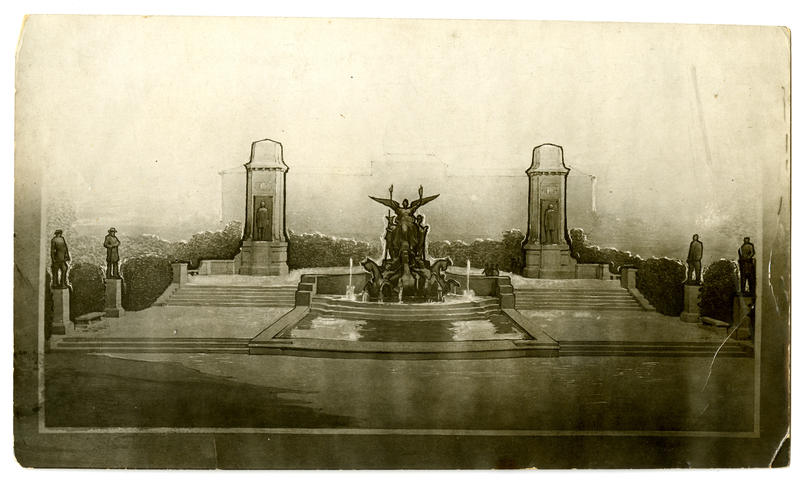 What would become the Littlefield Fountain was once envisioned as a larger gateway to UT, complete with 37-foot obelisks housing President Woodrow Wilson and Jefferson Davis.