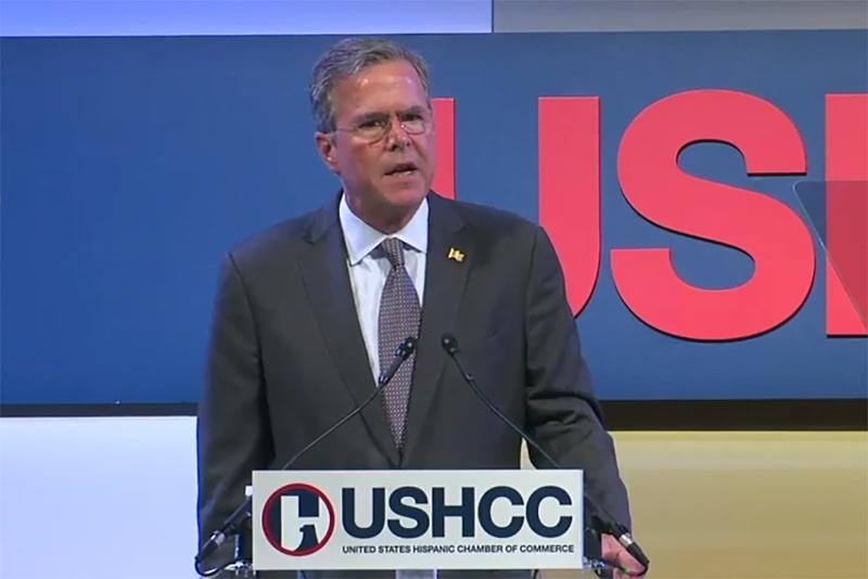GOP presidential hopeful Jeb Bush spoke at the U.S. Hispanic Chamber of Commerce's national meeting yesterday, at which immigration activists chided him for his policies.