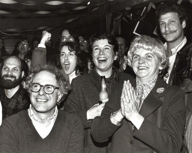 Bernie Saners wins re-electoin as Burlington's Mayor in 1983