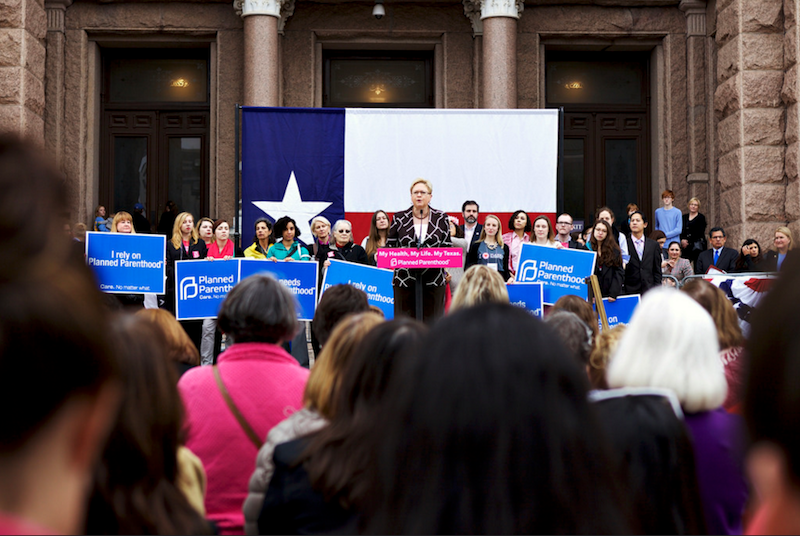Planned Parenthood supporters rally outside the Capitol in March. The Office of the Inspector General issued subpoenas to Texas Planned Parenthood clinics following state actions to cut off Medicaid funding to the organization.