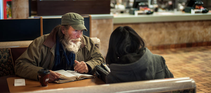 Judy Chen interviewing Jerry Howell on Jan. 24 during last year's homeless count. Austin Mayor Steve Adler launched an initiative to end veteran homelessness earlier this year, but fell short of the initial Veterans Day deadline.