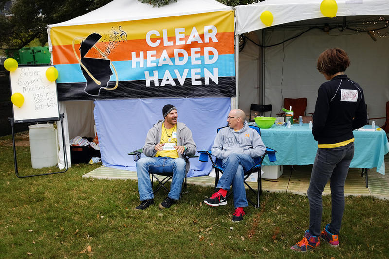 "Christie Mokry hangs out with friends at Fun Fun Fun Fest's sober tent, ""Clear Headed Haven."""