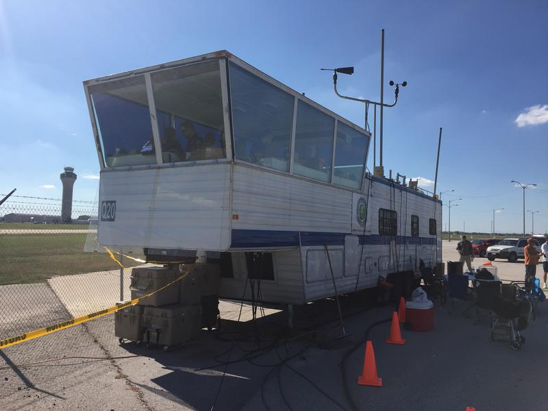 The FAA trucked in a temporary air traffic control tower from Kansas City.