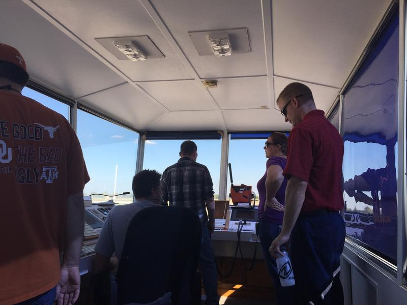 Workers inside the FAA's temporary control tower