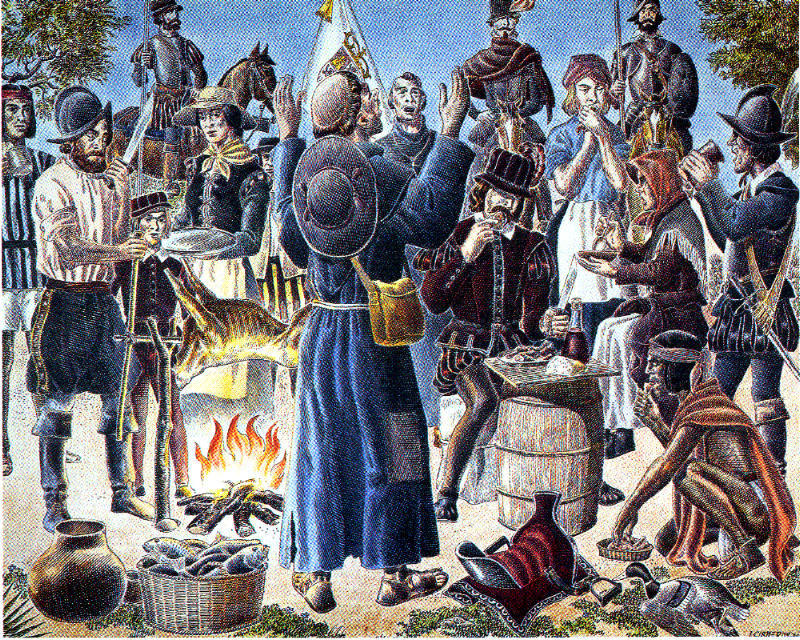 A painting by Jose Cisneros depicting what some say was the first Thanksgiving celebration in North America, when Spanish colonists broke bread with the Mansos, a tribe native to the present-day El Paso area.