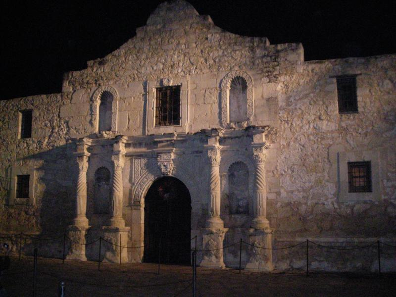 A nighttime view of The Alamo.