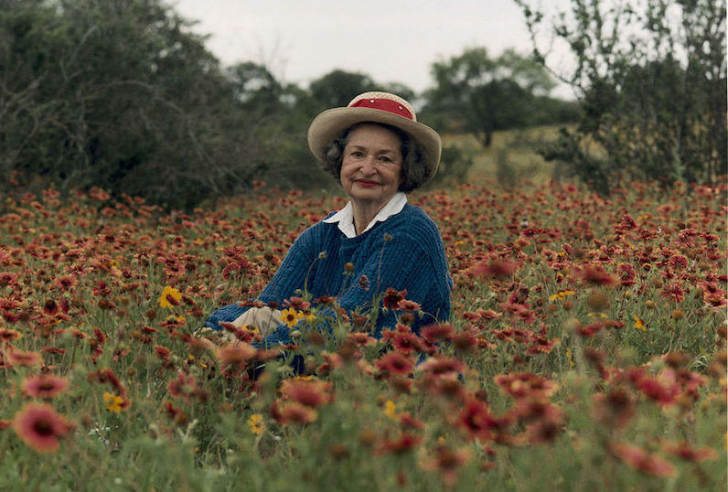 Lady Bird Johnson in Texas hill country, 1990.