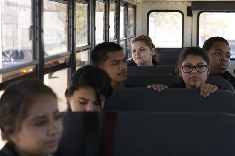 High school senior Lauren Ochoa (third from left) participates in a program that teaches students the ins and outs of becoming a correctional officer.