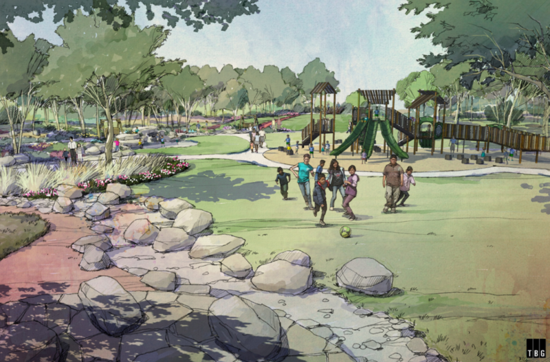 A rendering of the City of Austin's Dove Springs District Park renovation.