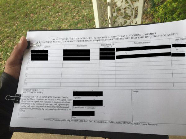 A petition circulating South Austin that seeks to recall Ann Kitchen.