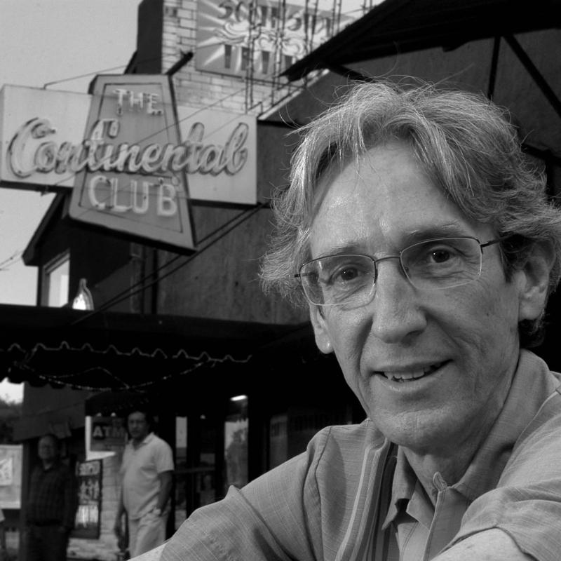 Paul Ray outside the Continental Club in 2005. The longtime KUT/KUTX music host passed away Friday at the age of 73.