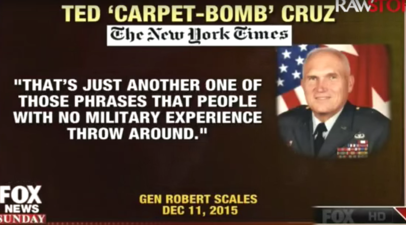 Fox News Sunday host Chris Wallace called on Ted Cruz to respond to a statement from Army Major Gen. Bob Scales criticizing Cruz's 'carpet-bombing' statement.