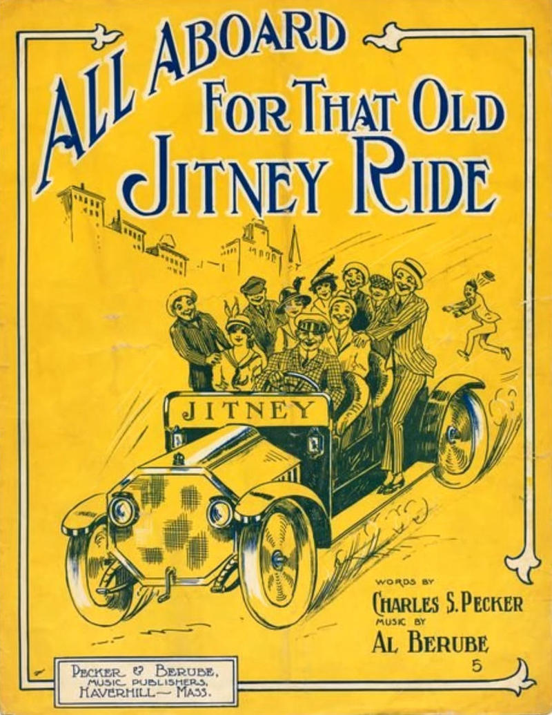 "A sheet music cover for ""All Aboard for That Old Jitney Ride."""