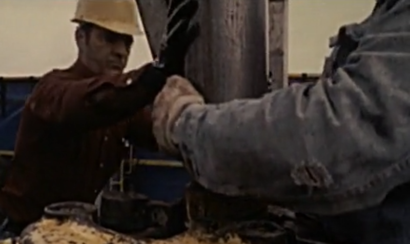 A screenshot from the film 'Wildcatter: A Story of Texas Oil'.