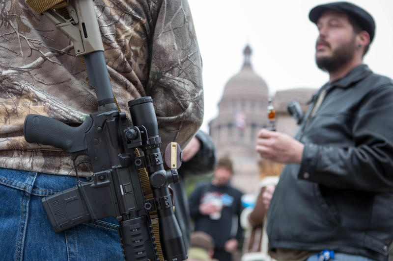 Open carry demonstrators outside the Texas State Capitol during the legislative session in 2015. With the new law in effect this SXSW, the Austin Police Department says it doesn't expect an uptick in calls related to the controversial law.