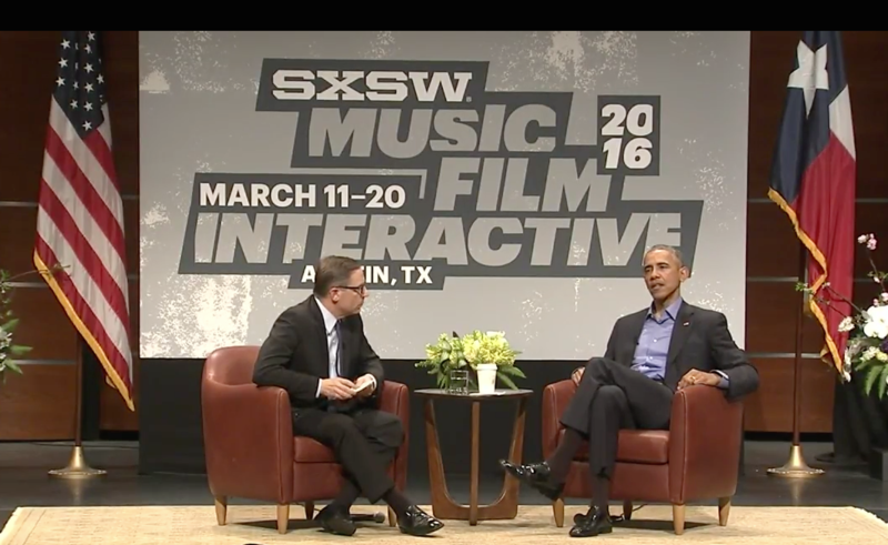 Texas Tribune CEO chats with President Obama at the Long Center on the first day of SXSW Interactive 2016.