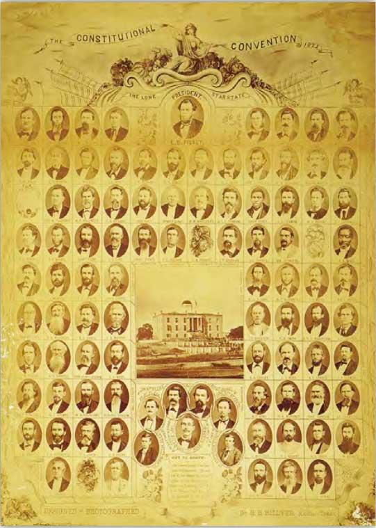 A poster depicting the participants in the 1876 Texas Constitutional Convention.