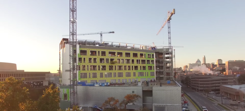 A screen shot of the Dell Medical School under construction.