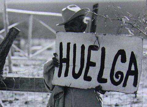 Huelga is the Spanish name for strike. A man holds the sign during the 1966 farm-worker's strike and march.