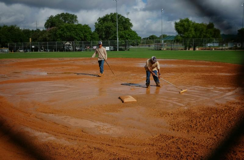 A view of Kreig Field on August 19, 2016. The waterlogged fields have caused plenty of delays for the NAGAAA Gay Softball World Series this week.