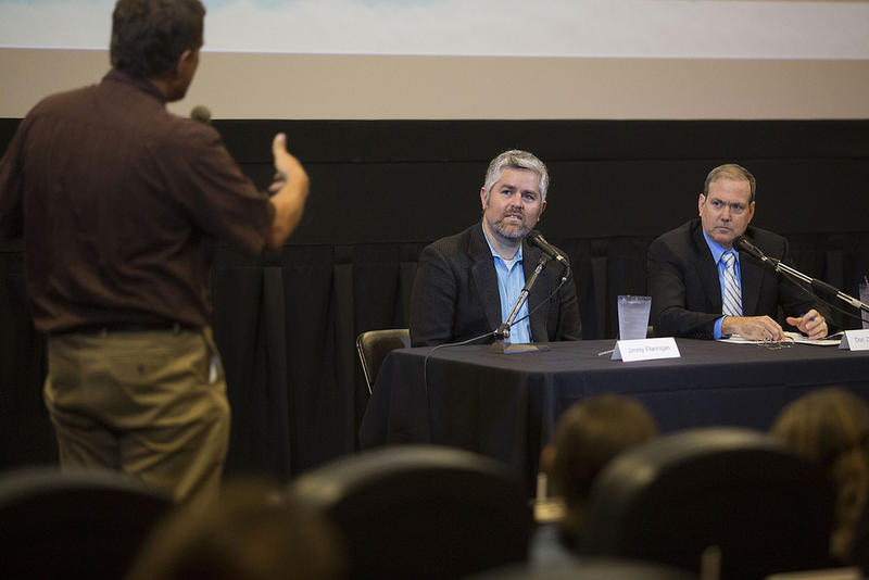 Council candidate and challenger Jimmy Flannigan (left) and incumbent Council Member Don Zimmerman met on September 20, 2016 in an Austin City Council debate hosted by the Austin Monitor, Glass House Policy and KUT.