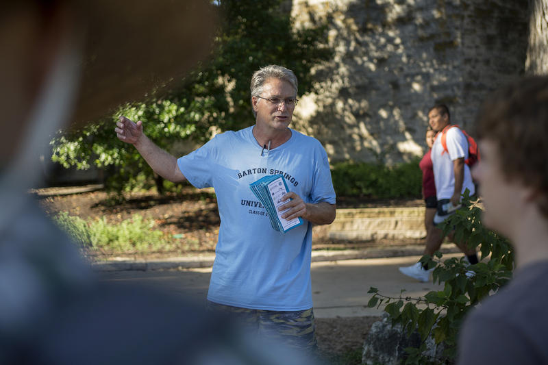 Bill Bunch of Save Our Springs Alliance speaks to students about the history and lore of Barton Springs on September 28, 2016.