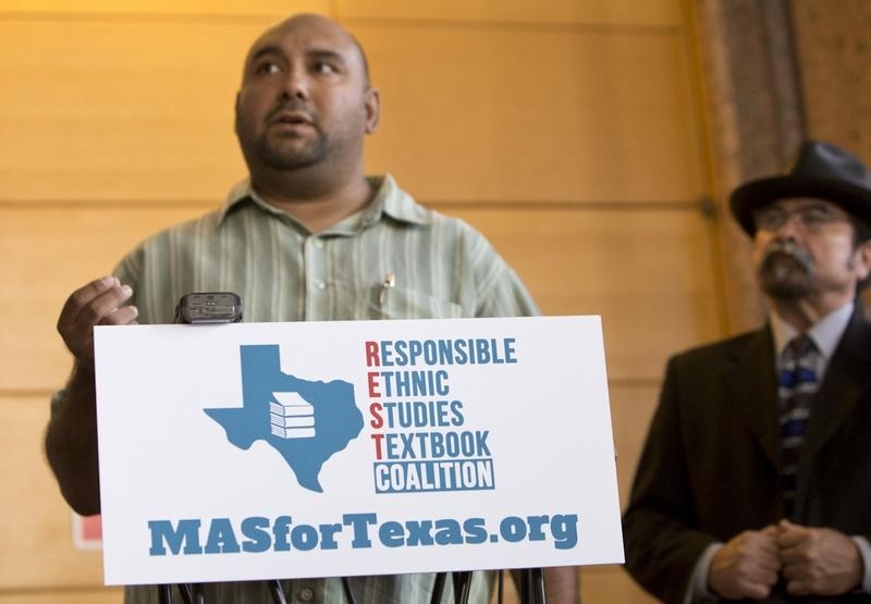 Dr. Christopher Carmona, chair of the National Association of Chicana and Chicano Studies-Tejas Foco's Committee on Pre K-12 Edu. in Texas Schools speaks during a press conference on July 18, 2016.