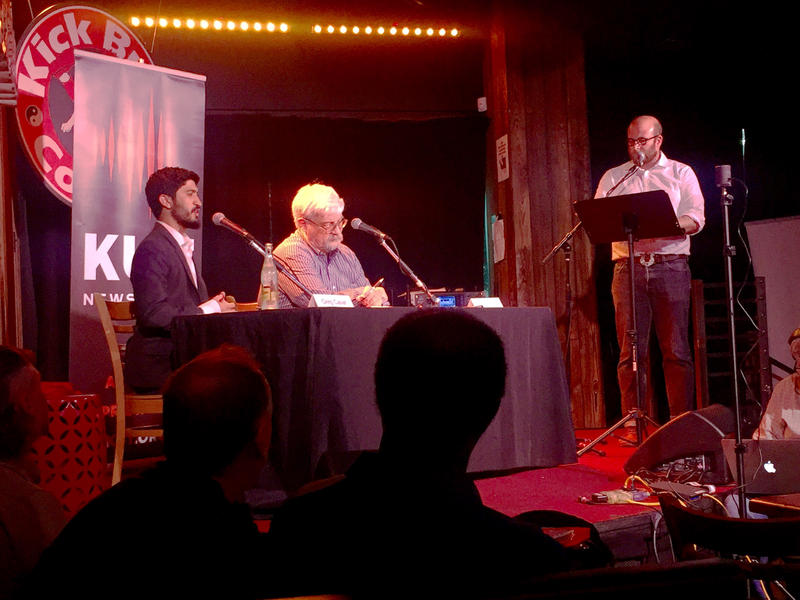 Council Member Greg Casar (left), Louis Herrin and the Austin Monitor's Michael Kanin at the District 4 forum last night.