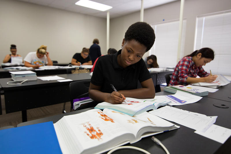 Manor high school juniors and seniors attend classes at a new workforce training center in Manor, Texas on September 23, 2015.