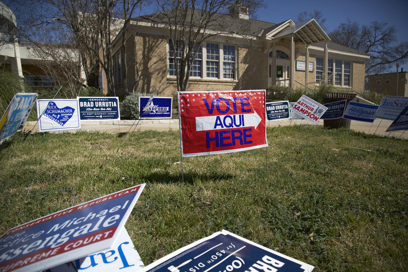 A file photo of a polling location in Travis County on February 23, 2016.