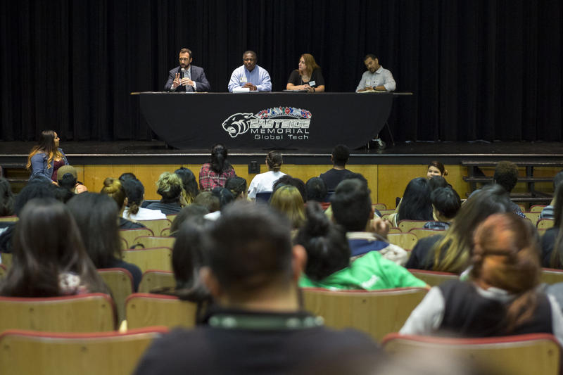 Austin School Board Candidates Dr. Jayme Mathias, Andy Anderson, Cindy Anderson and David Quintanilla take questions from Eastside Memorial High School students at a student-run candidate forum.