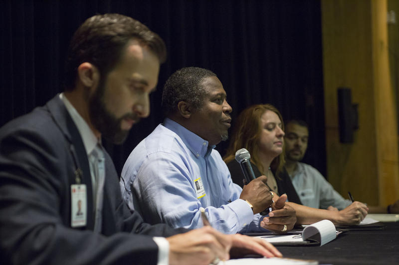 Austin School Board Candidates (R to L) Jayme Mathias, Andy Anderson, Cindy Anderson, David Quintanilla at a candidate forum.