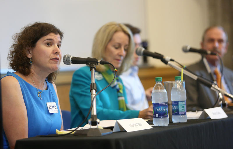 (L to R) Alison Alter, Council Member Sheri Gallo, Nick Virden (partially pictured) and Robert Walker at the Austin Monitor-KUT District 10 forum on October 5, 2016.