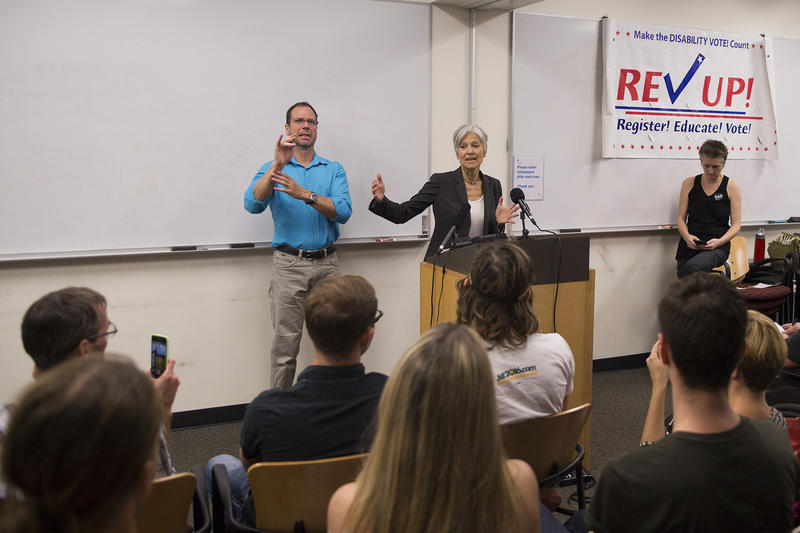 Green Party presidential candidate Jill Stein stopped at a downtown Austin library yesterday ahead of a speech at Huston-Tillotson University.