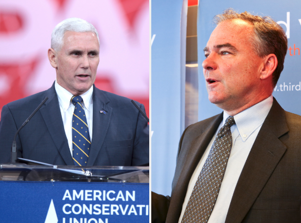 The vice presidential candidates face off tonight: Republican nominee Mike Pence (left) versus Democratic nominee Tim Kaine.