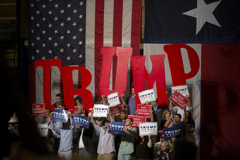 Trump supporters inside the Travis County Expo Center on August 23, 2016.